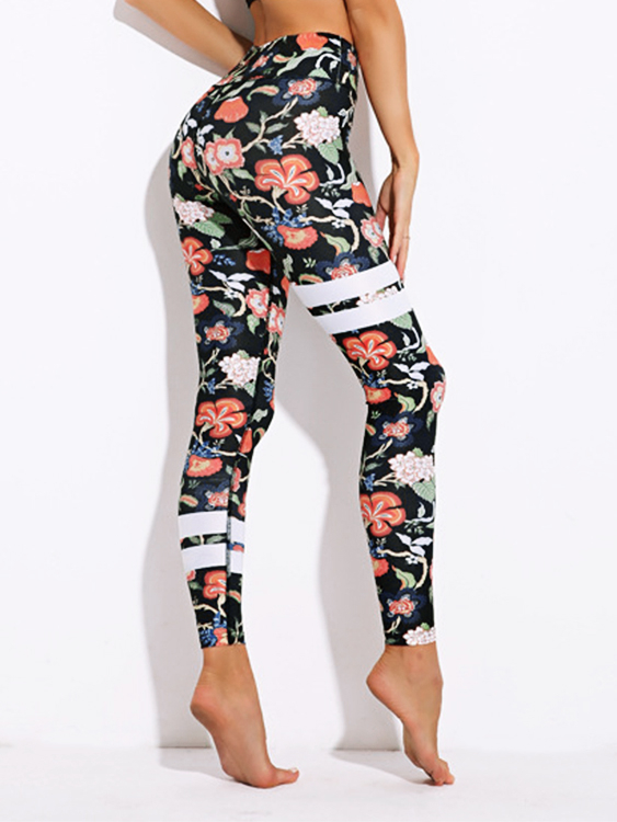 Active Floral Print Quick Drying Gym Leggings in Black