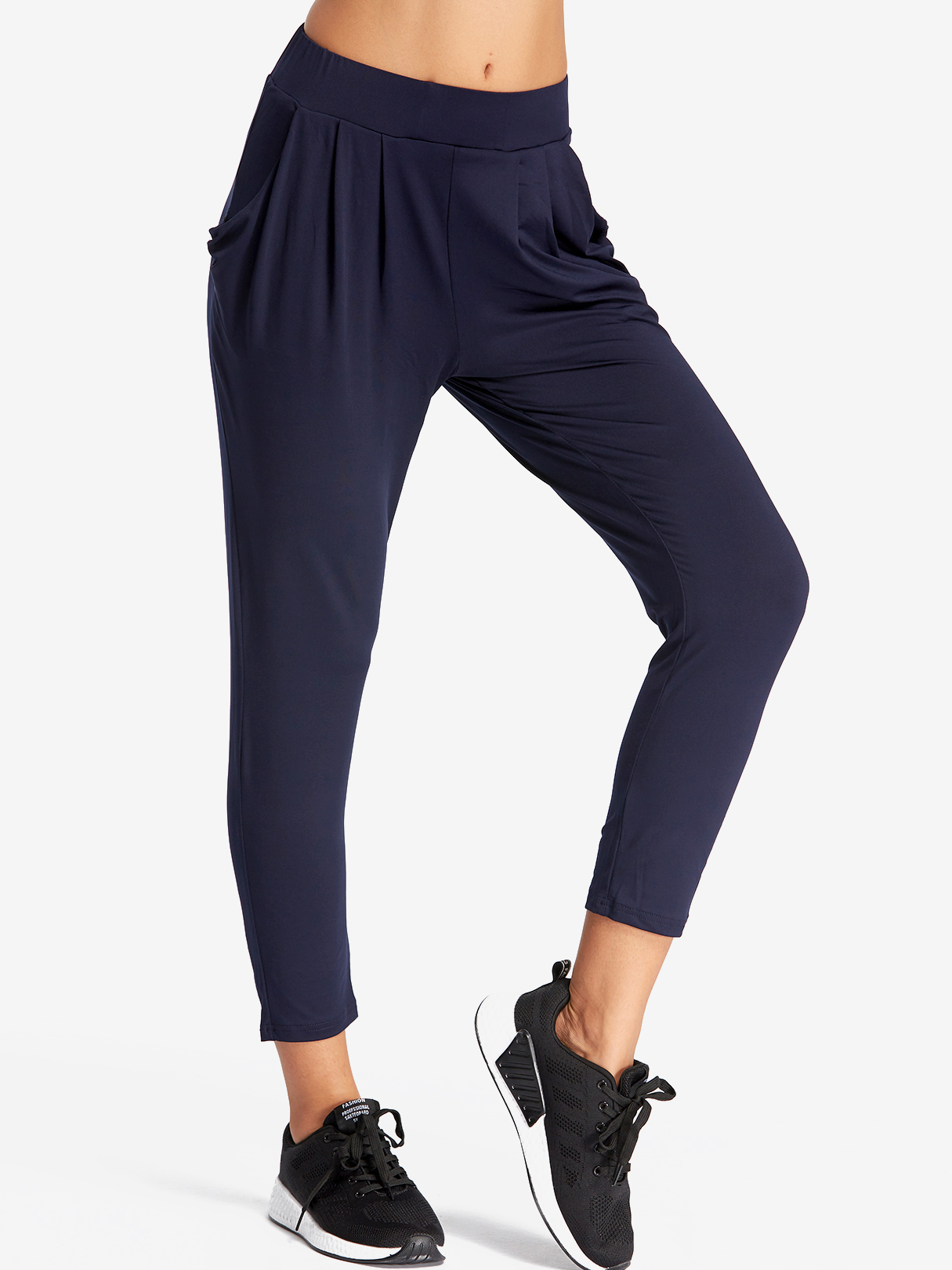 Dark Blue Pleated Design Middle-waisted Fashion Trousers