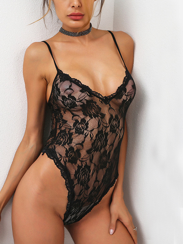 Low Cut V-neck Lace Bodysuit in Black