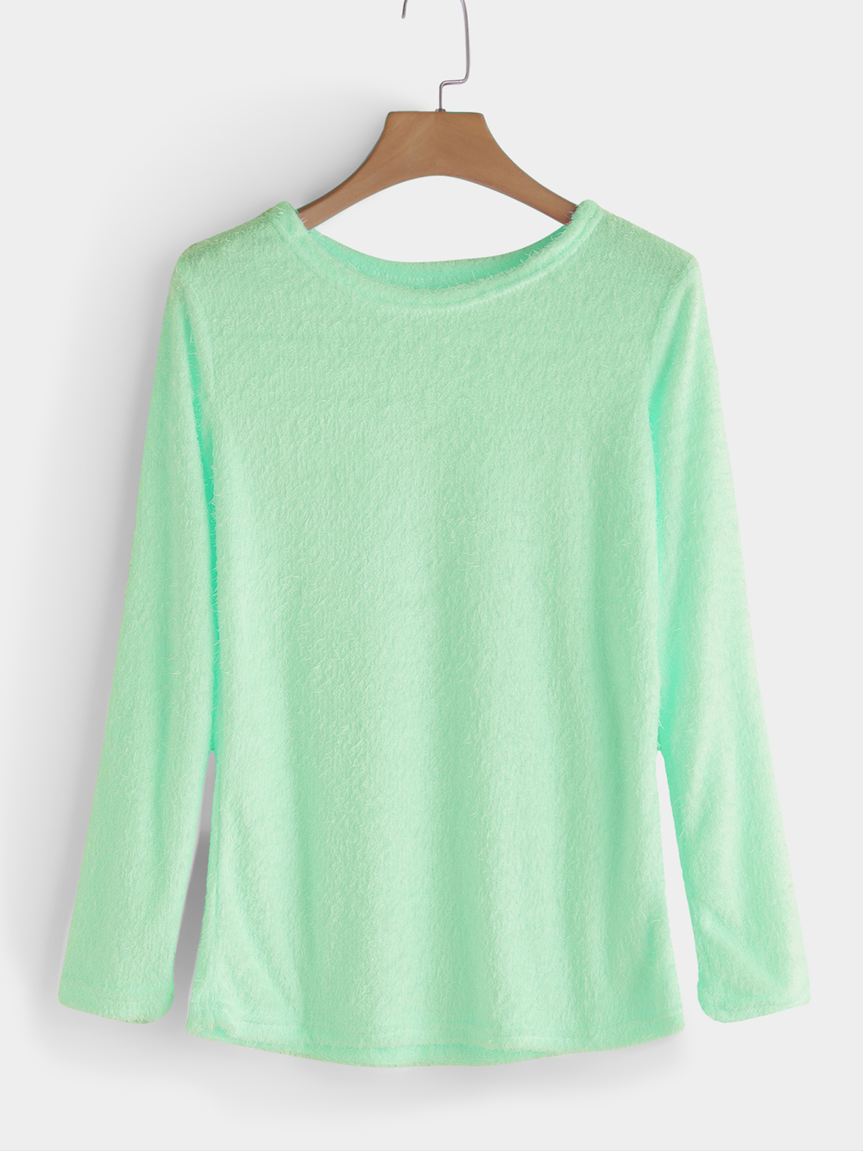 Aquamarine Casual Round Neck Long Sleeves Fuzzy T-shirt