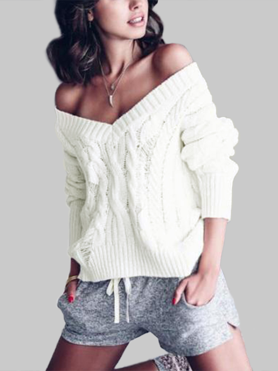 White Plain Knitting Hollow Out V-neck Long Sleeves Loose Sweaters