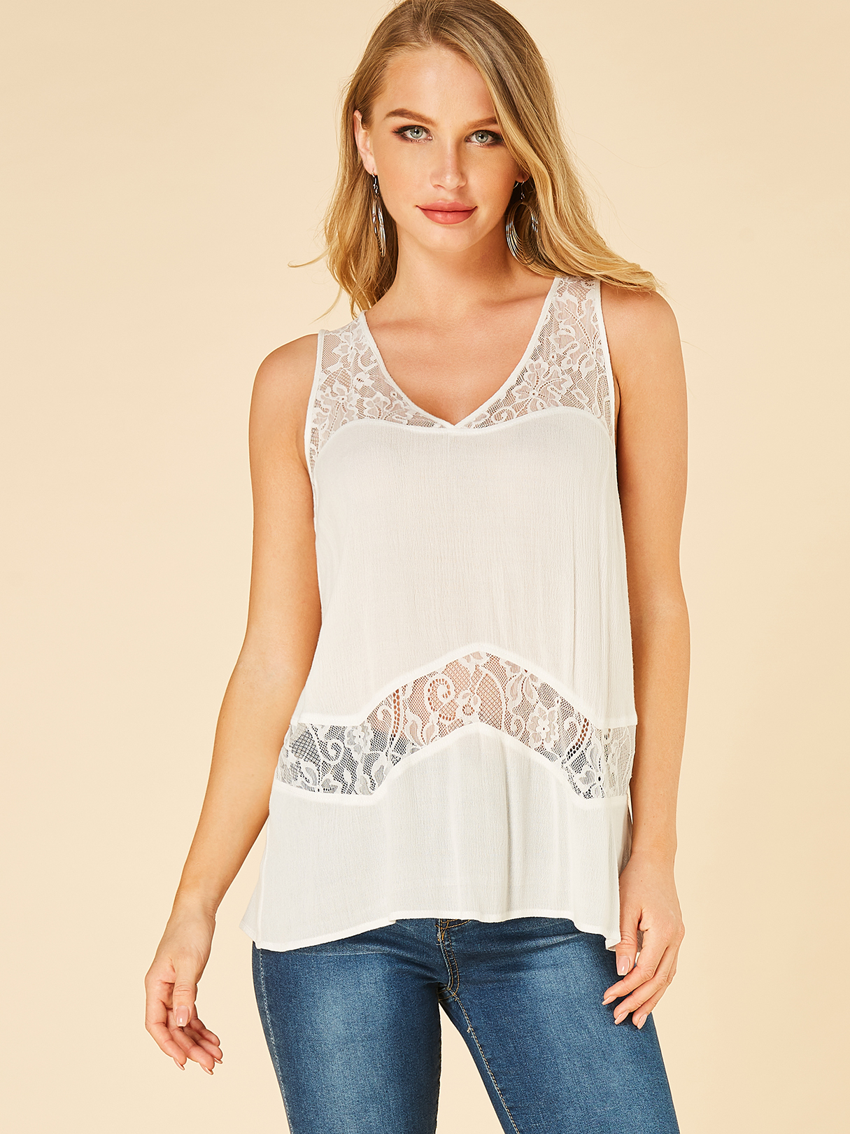 White lace V-neck See Through Tank Top