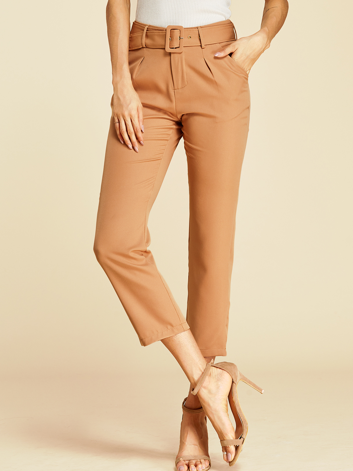 Khaki Belt Design Side Pockets Pleated Pants