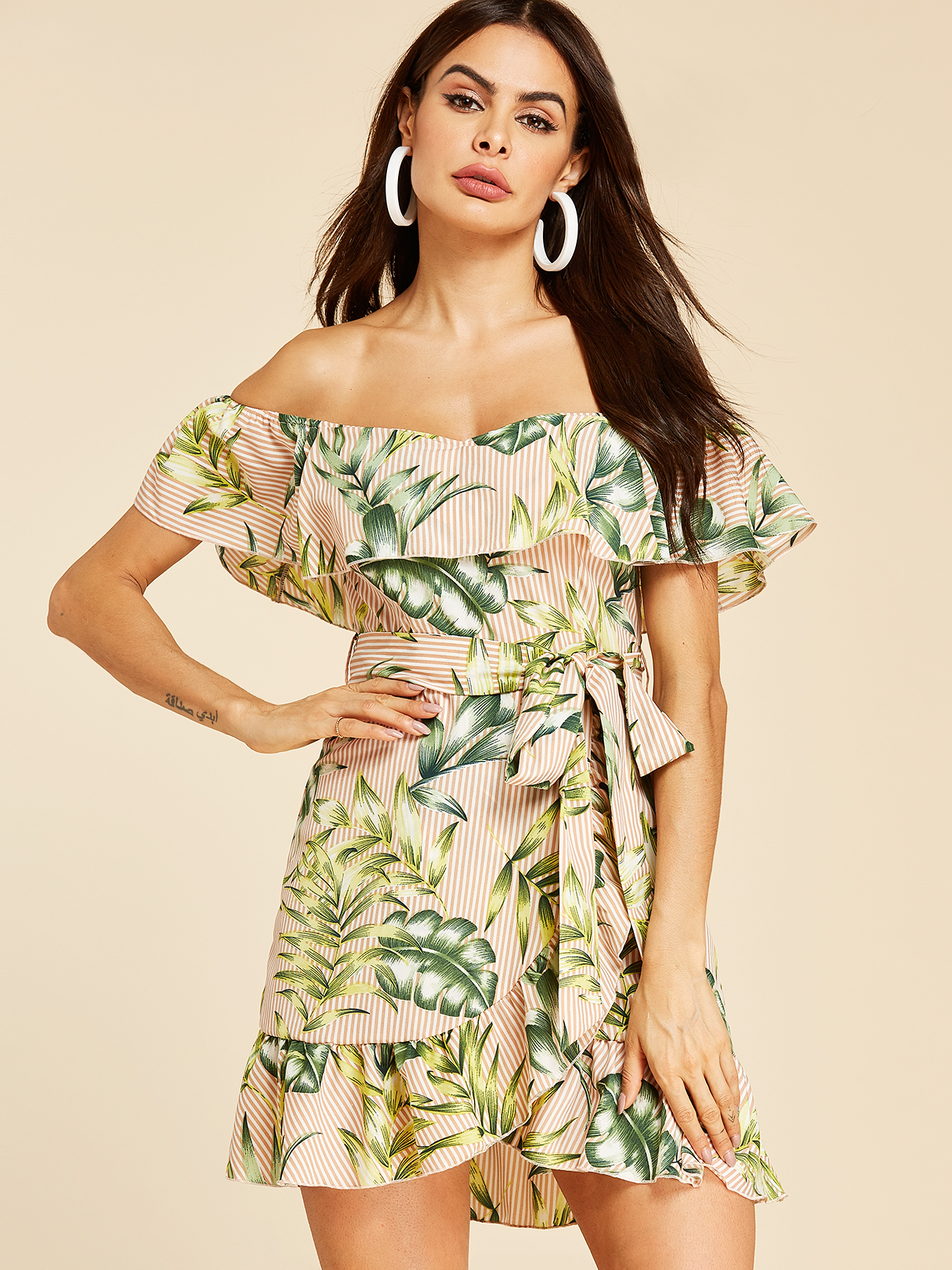 Khaki Off-the-shoulder Overlay Floral Print Dress