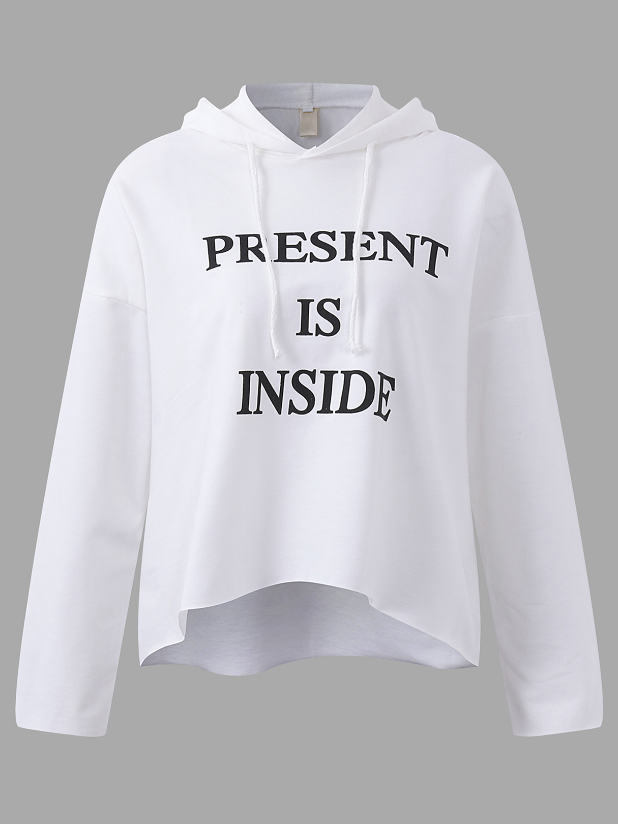 Active Cut Out Round Neck Letter Pattern Sports Hoodies in White