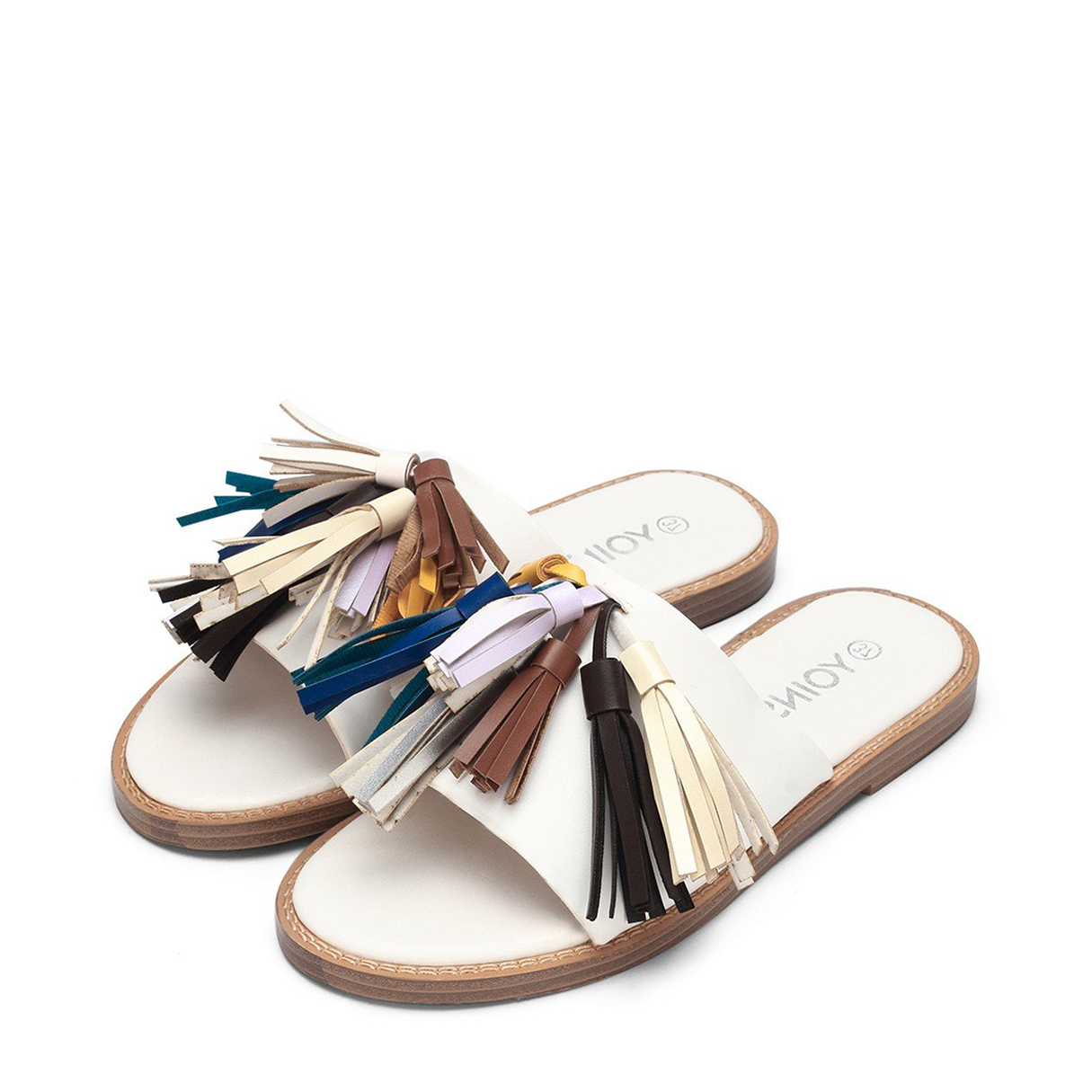 White Leather Look Flat Slippers With Multi-colored Tassel