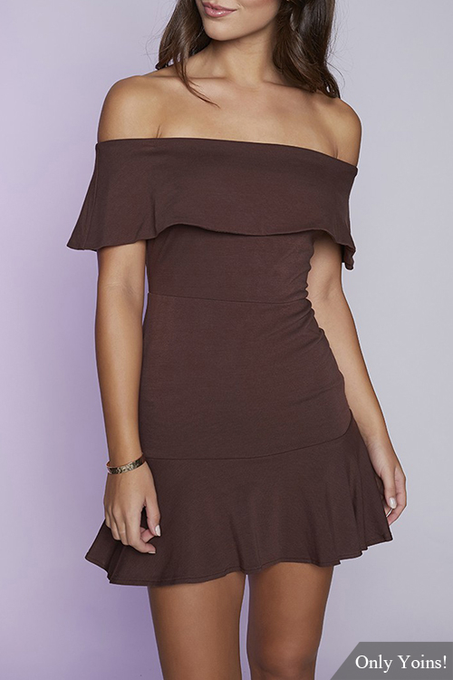 Brown Off-shoulder Layered Body-con Flounced Hem Dress