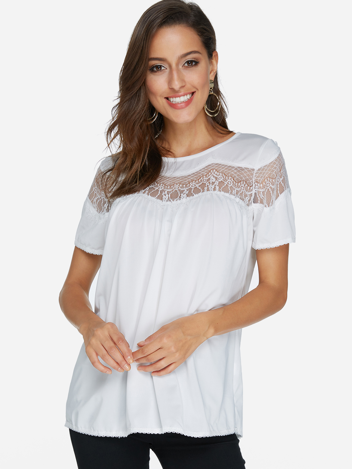 White Lace Insert Short Sleeves Top