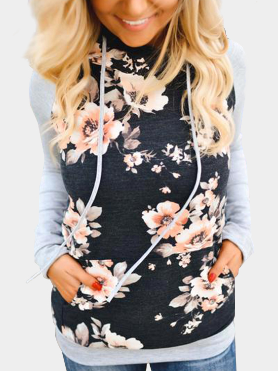 Floral Print Stitching Design Drawstring Pullover Hoodie