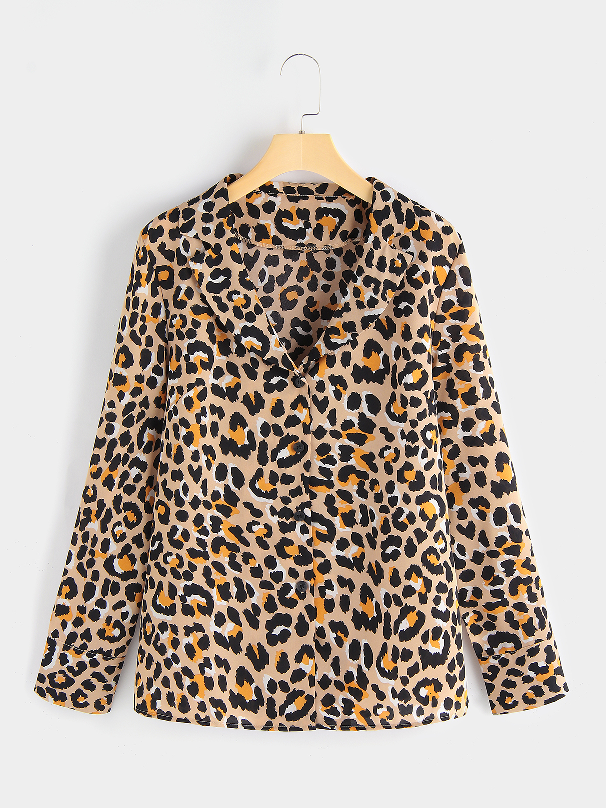 Leopard Single Breasted Design Lapel Collar Long Sleeves Shirt, Multi