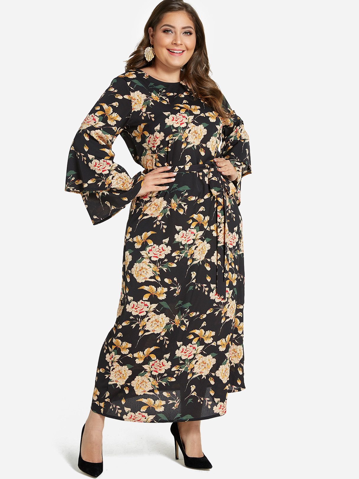 27b3625adb Plus Size Floral Print Tiered Bell Sleeves Maxi Dress, Multi - yoins.com -  imall.com