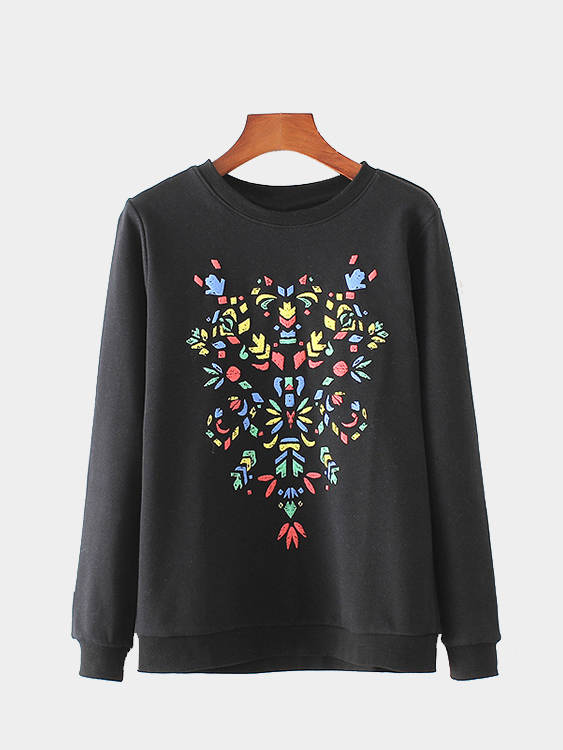 Black Print Front Long Sleeves Round Neck Sweatshirt