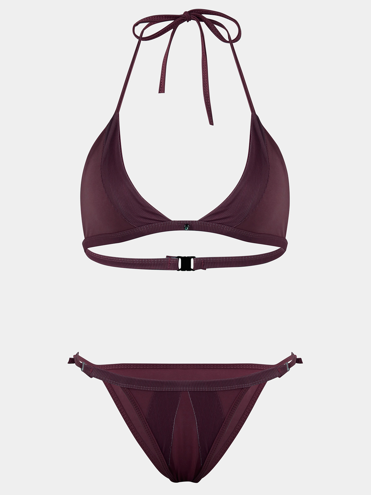 Burgundy Adjustable Neck Straps Lace Up Details Without Padded & Steel Bikini