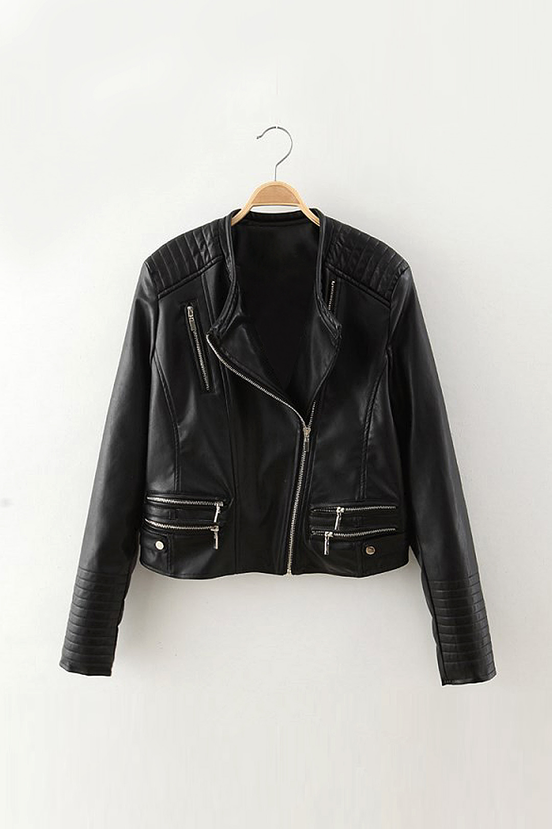 Biker Jacket with Padded Shoulder