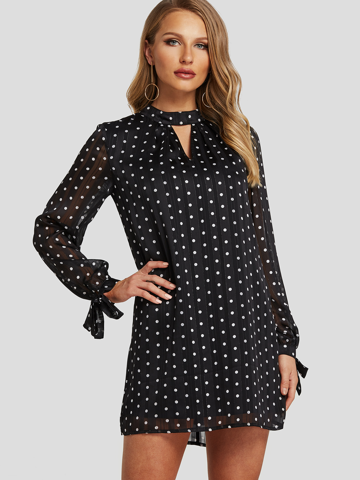 Black Cut Out Back Polka Dot Stand Collar Tie-up Sleeves Dress