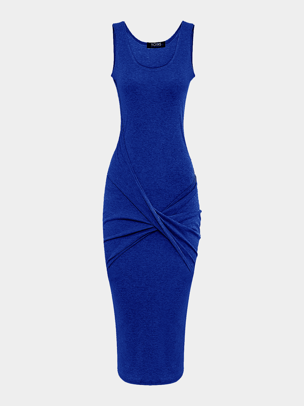 Blue Cross Front Bag Hip Midi Dress
