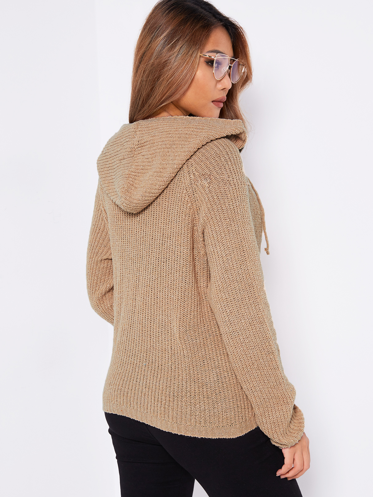 Khaki Hooded Design Lace Up Details V-neck Long Sleeves Sweaters -  yoins.com - imall.com a72474be4