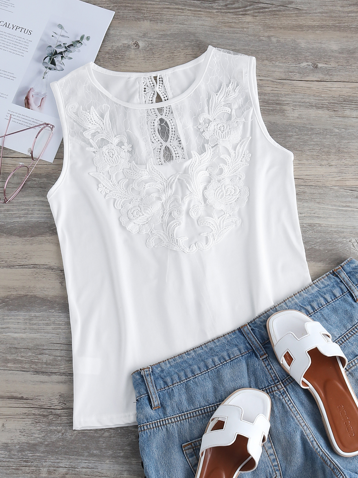 White Crochet Lace Embellished Round Neck Tank Top