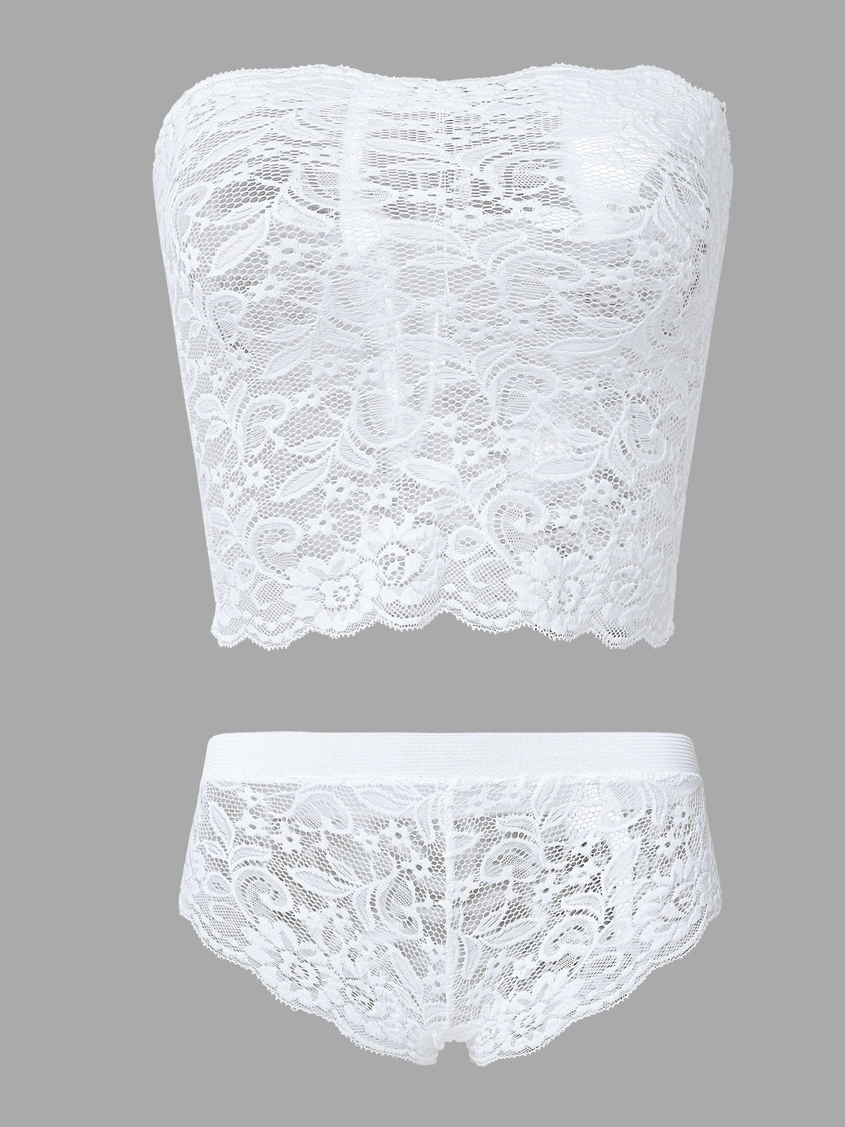 White Strapless Lace Lingeries Set