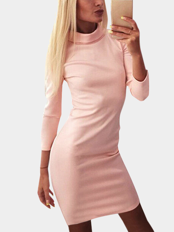 Pink High Neck Long Sleeves Dress