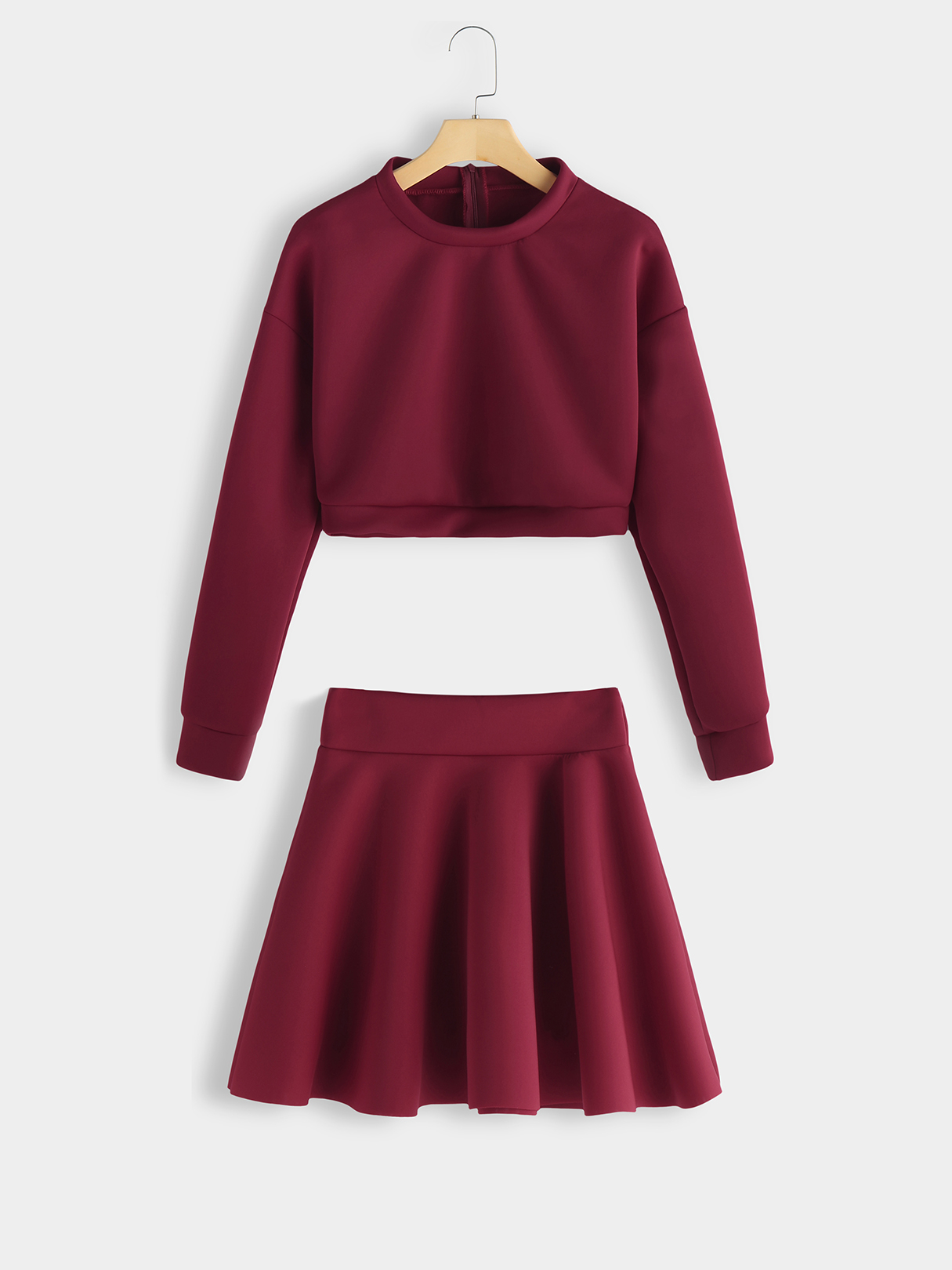 Burgundy Round Neck Top & Ruffle Hem Skirt Co-ord