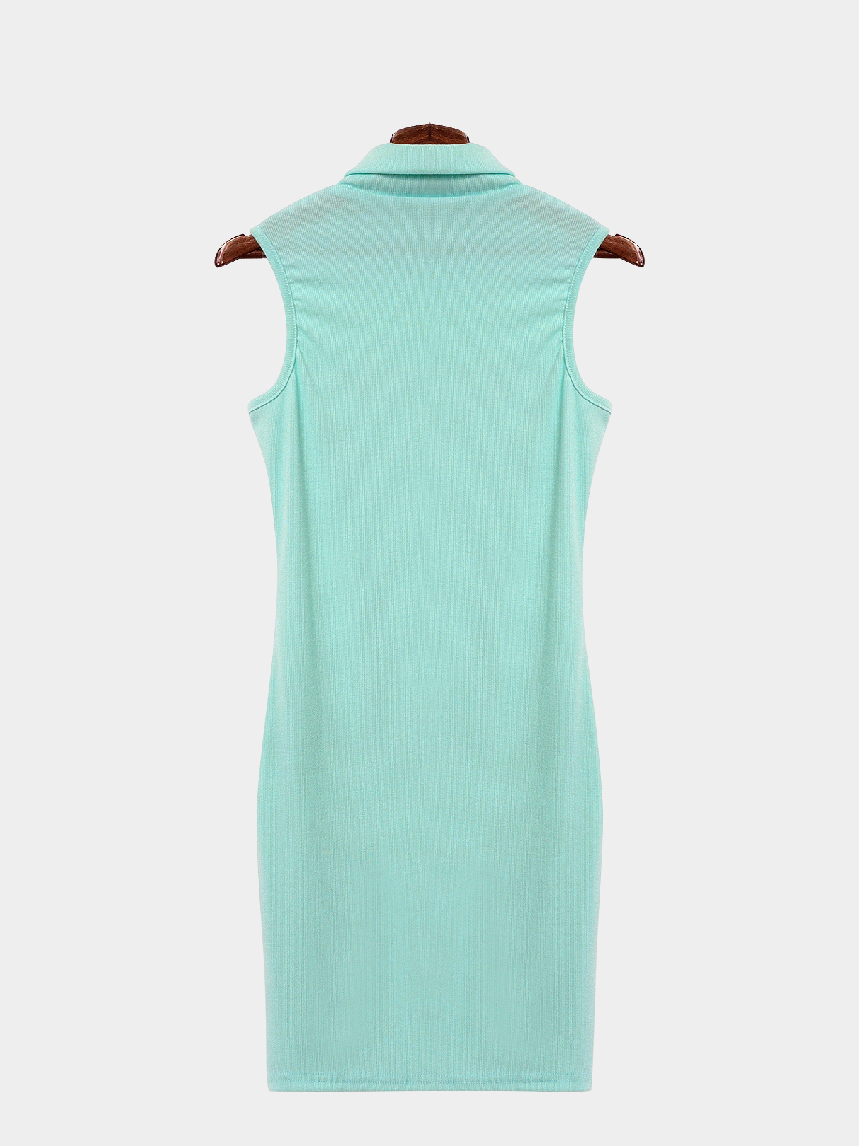 Plain Green Color High Neck Sleeveless Bodycon Hem Dress
