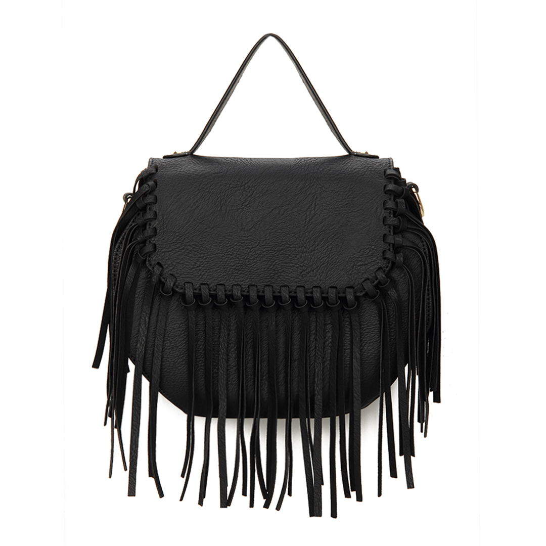 Octagon Leather-look Knotted Fringe Flap Top Handle Bag in Black