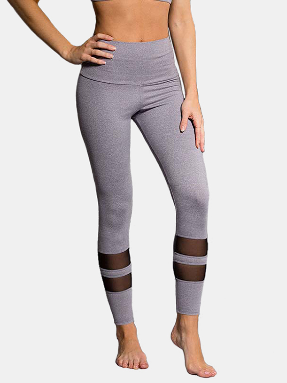 Active Net Yarn Stitching High Waisted Sports Leggings in Grey