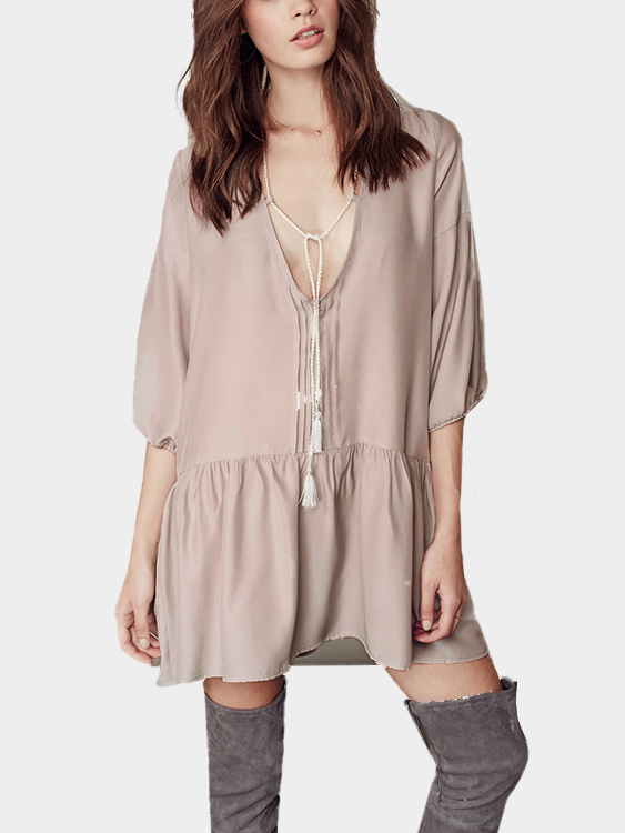 Boho Self-tie 3/4 Length Sleeve Shift Dress