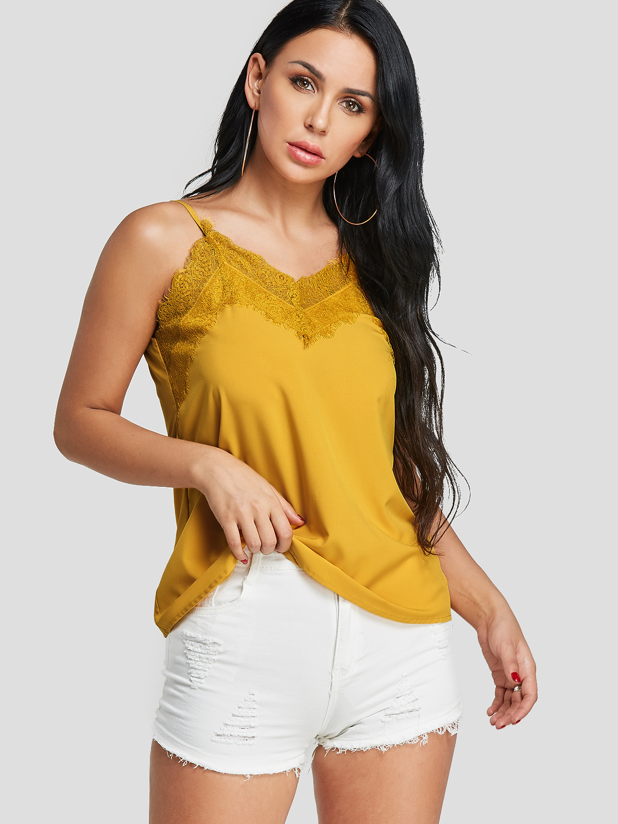 Yellow Lace Inset V-neck Cami