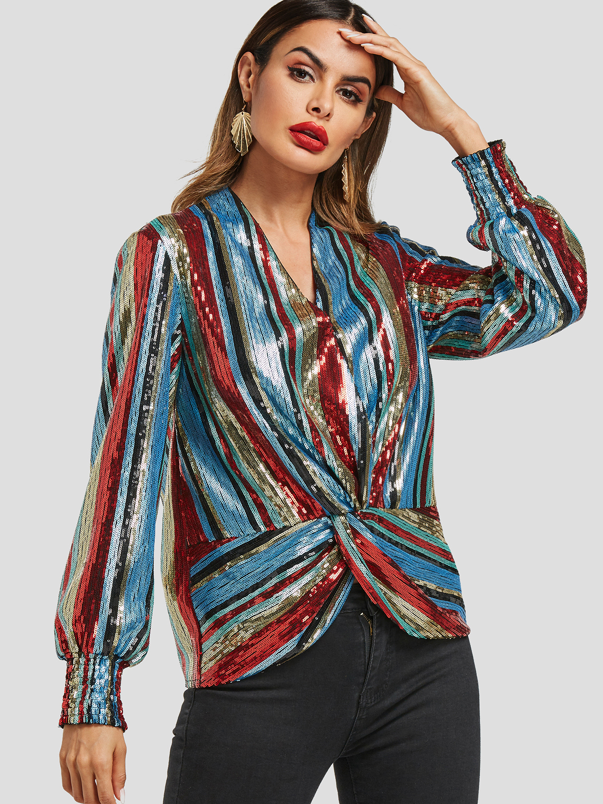Colorful Stripe Sequin Drape Top, Multi