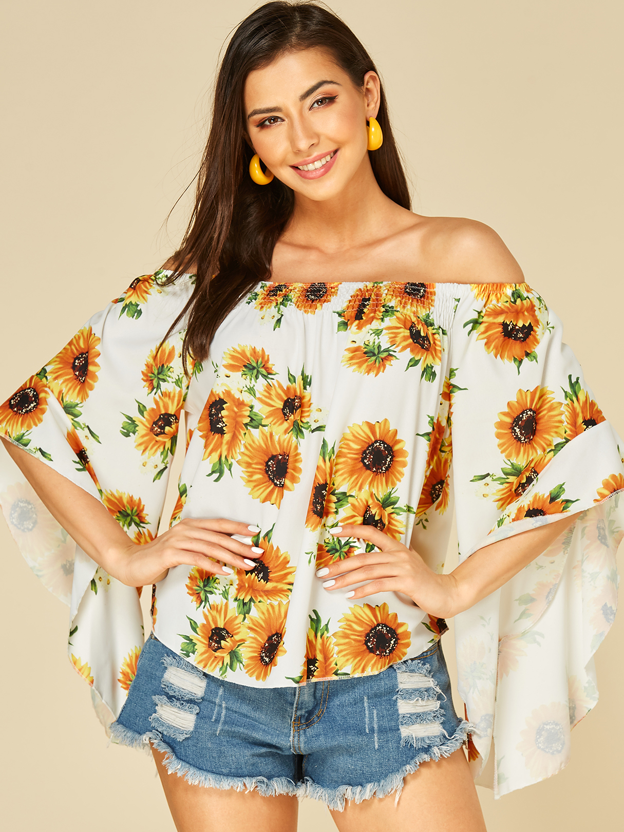 Sunflower Printed Off The Shoulder Flounced Sleeves Top, White