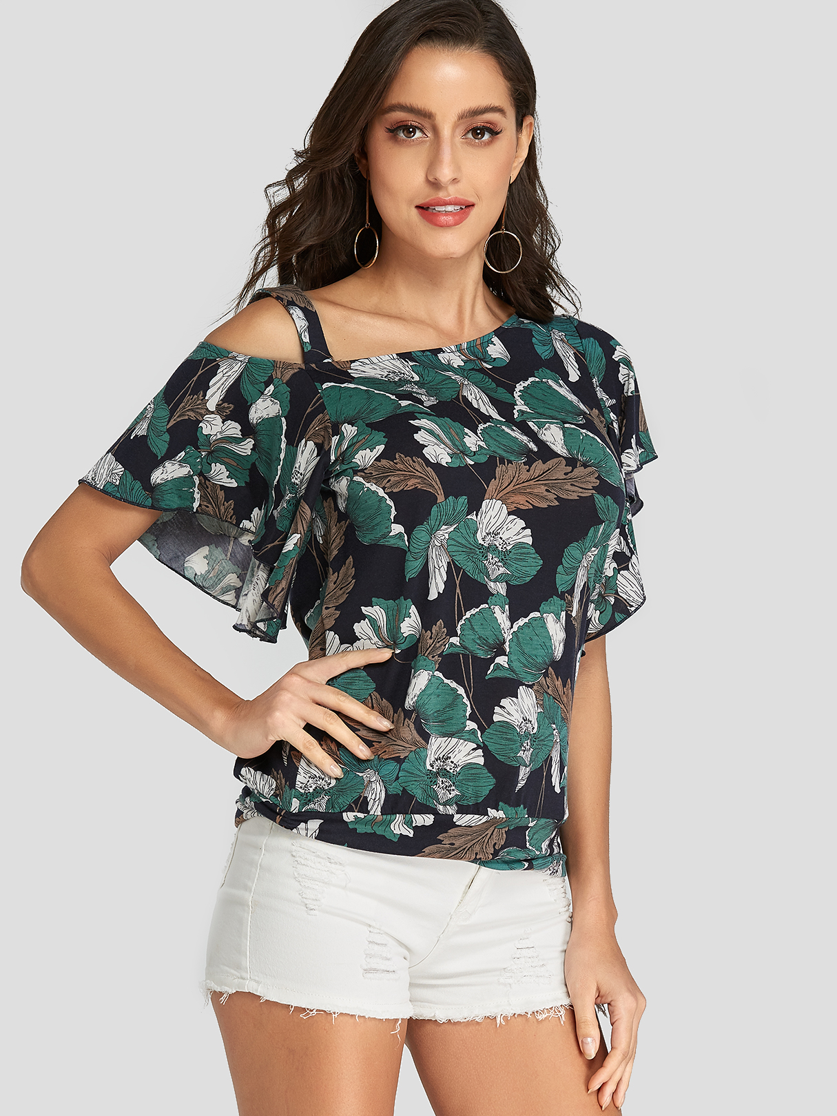 Dark Blue Ruffle Trim Leaf Print One Shoulder Tee
