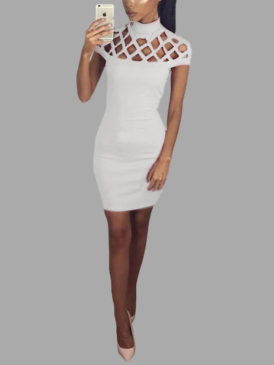 White Sexy Hollow Details Sleeveless Party Dress