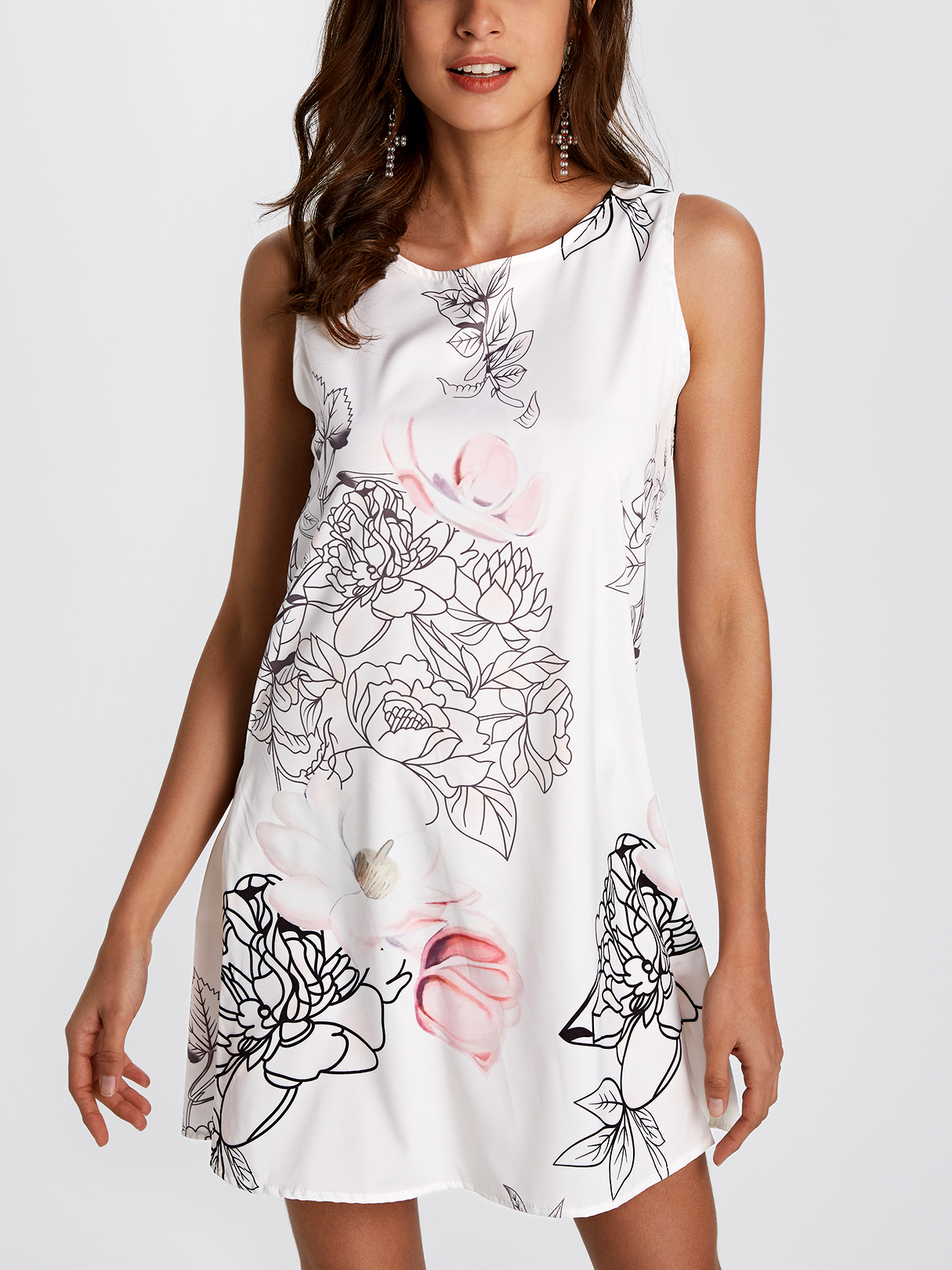 Random Floral Print Crew Neck Mini Length Dress