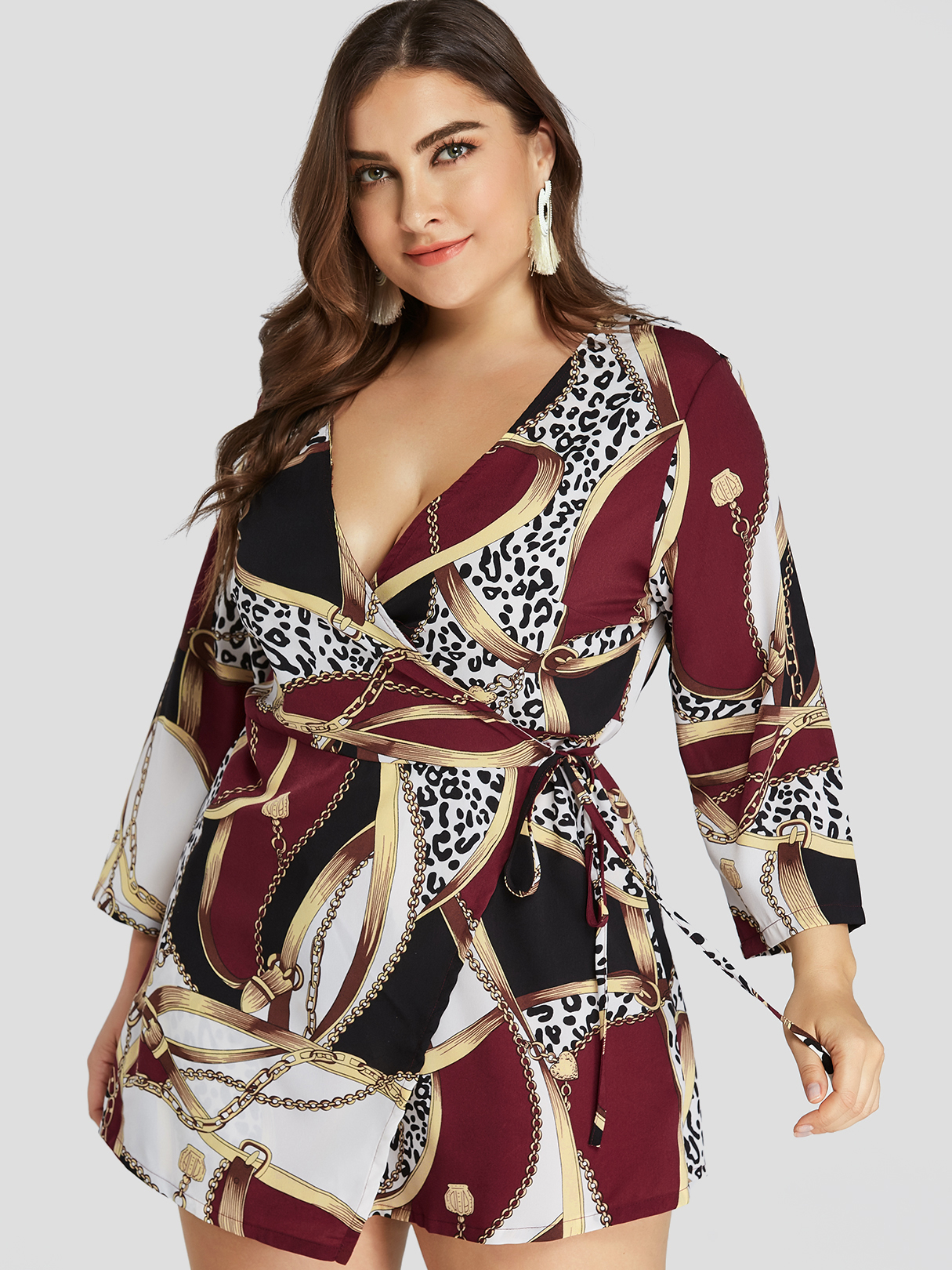Plus Size Burgundy Scarf Print Wrap Dress, Multi