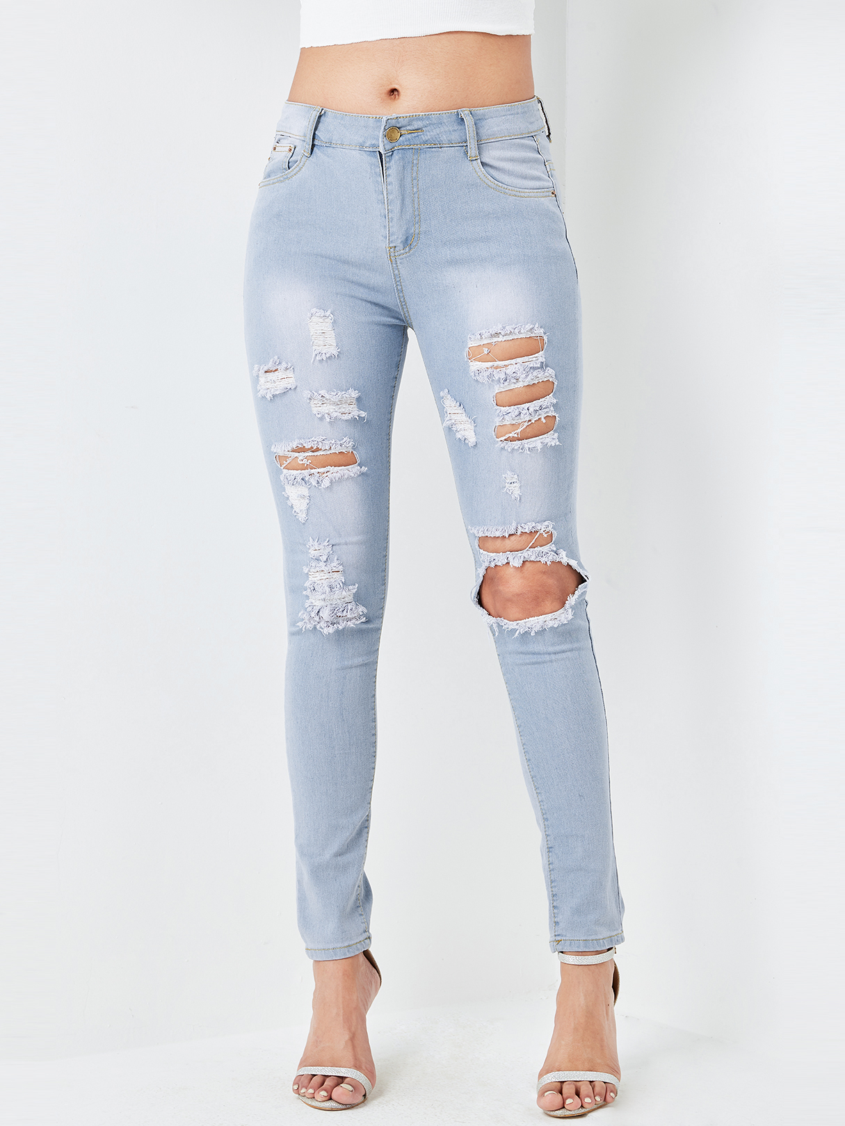 Blue Random Ripped Details Bleached Jeans