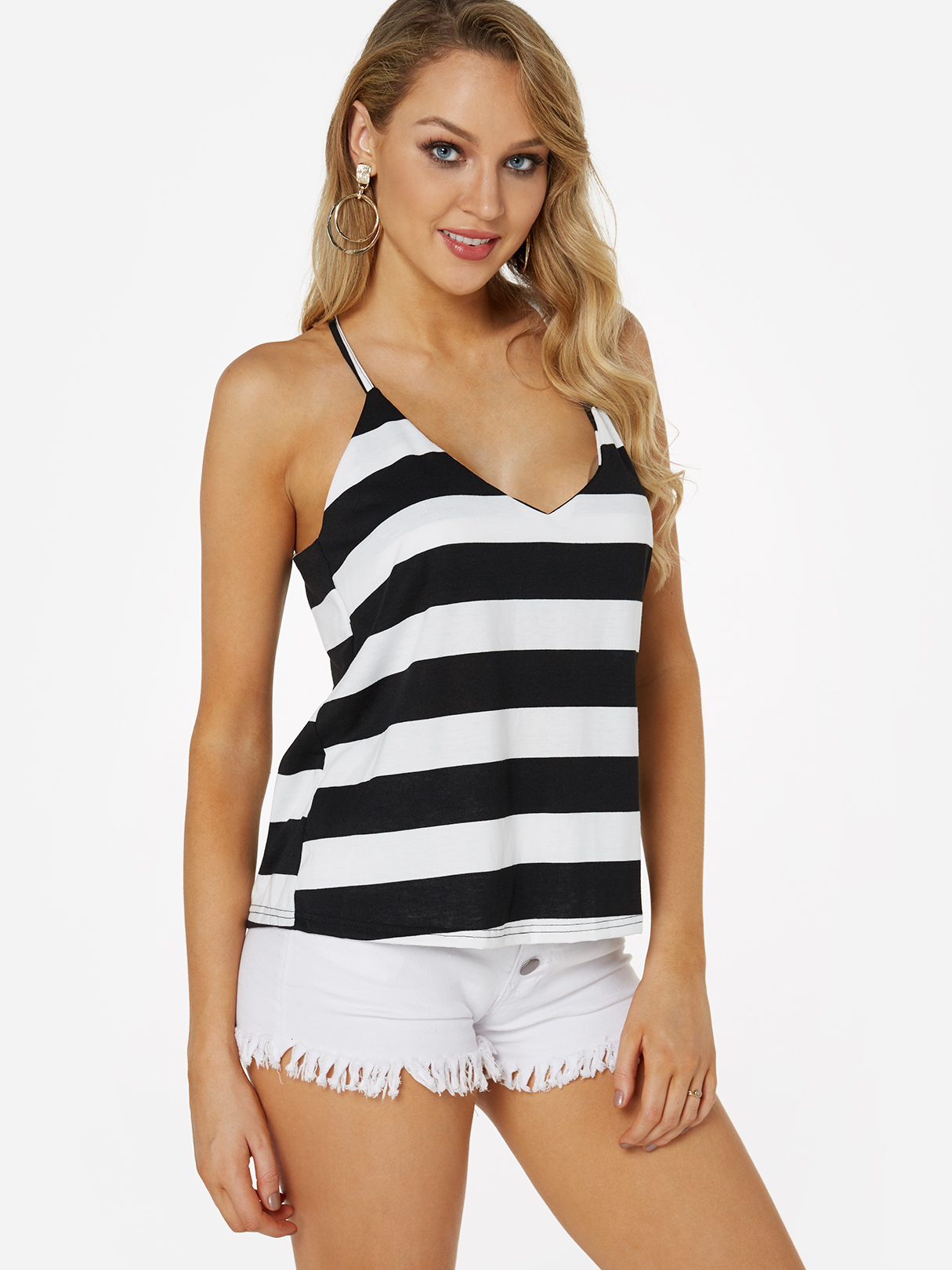 Black and White Stripe Pattern V-neck Cami