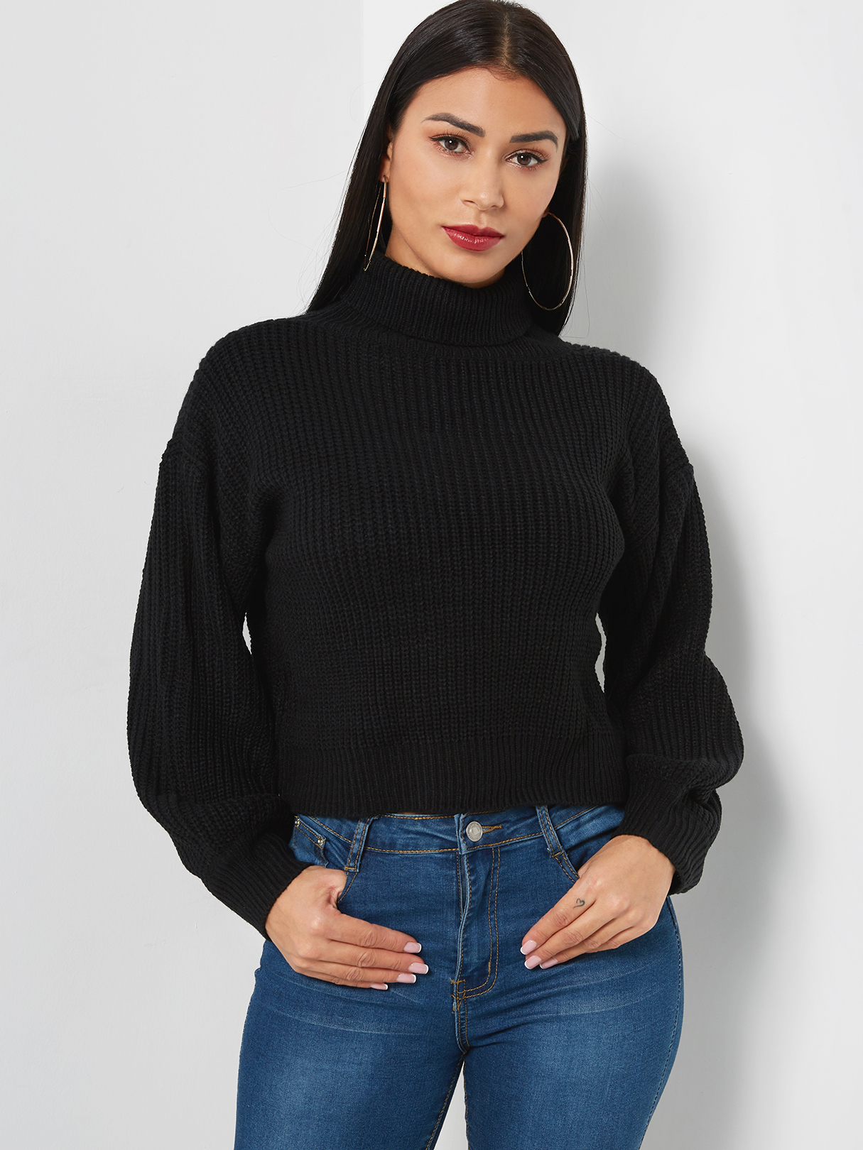 Black High Neck Long Sleeves Knitted Basic Sweater