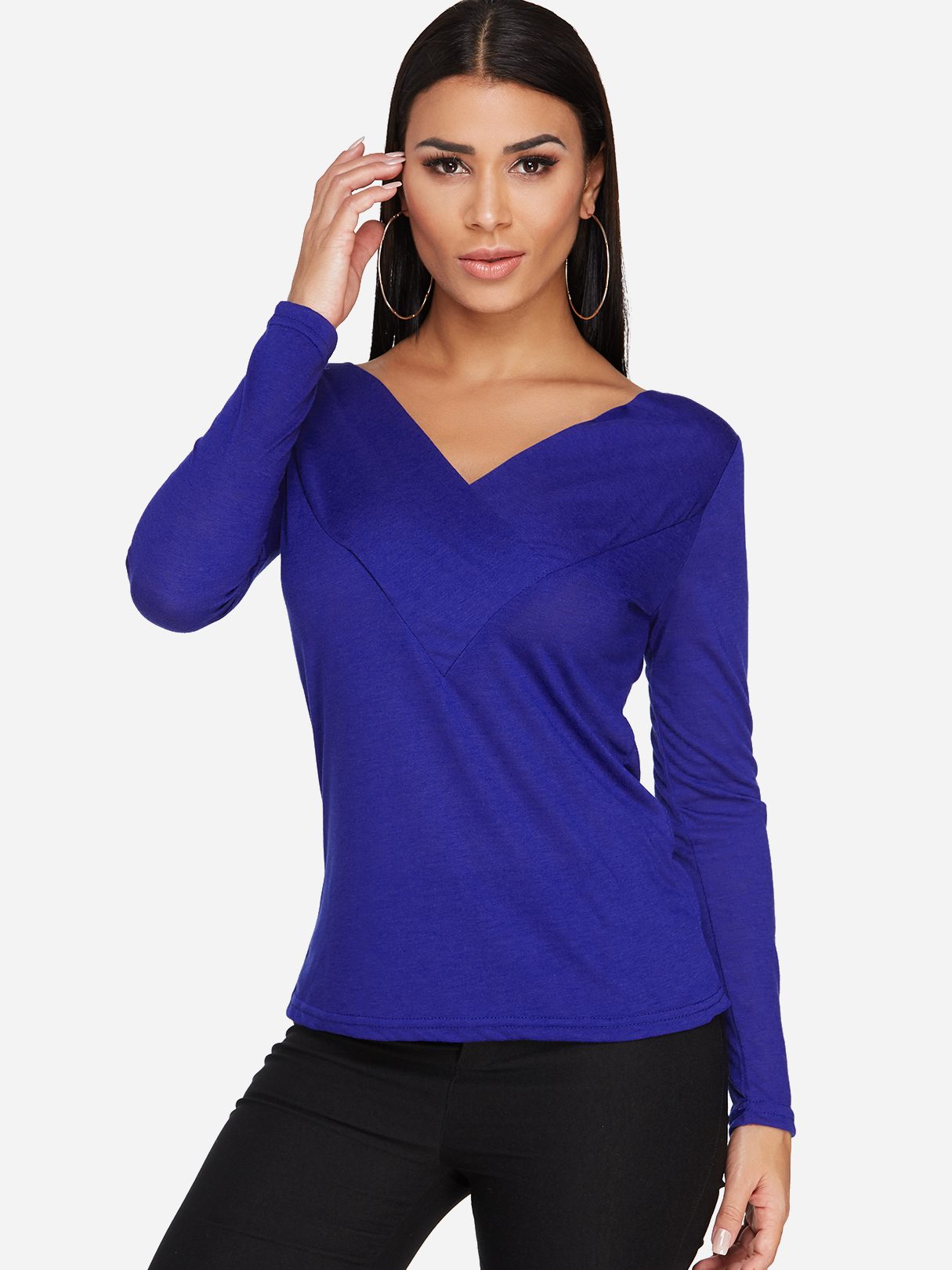 Royal Blue Pleated Design Plain V-neck Long Sleeves T-shirts