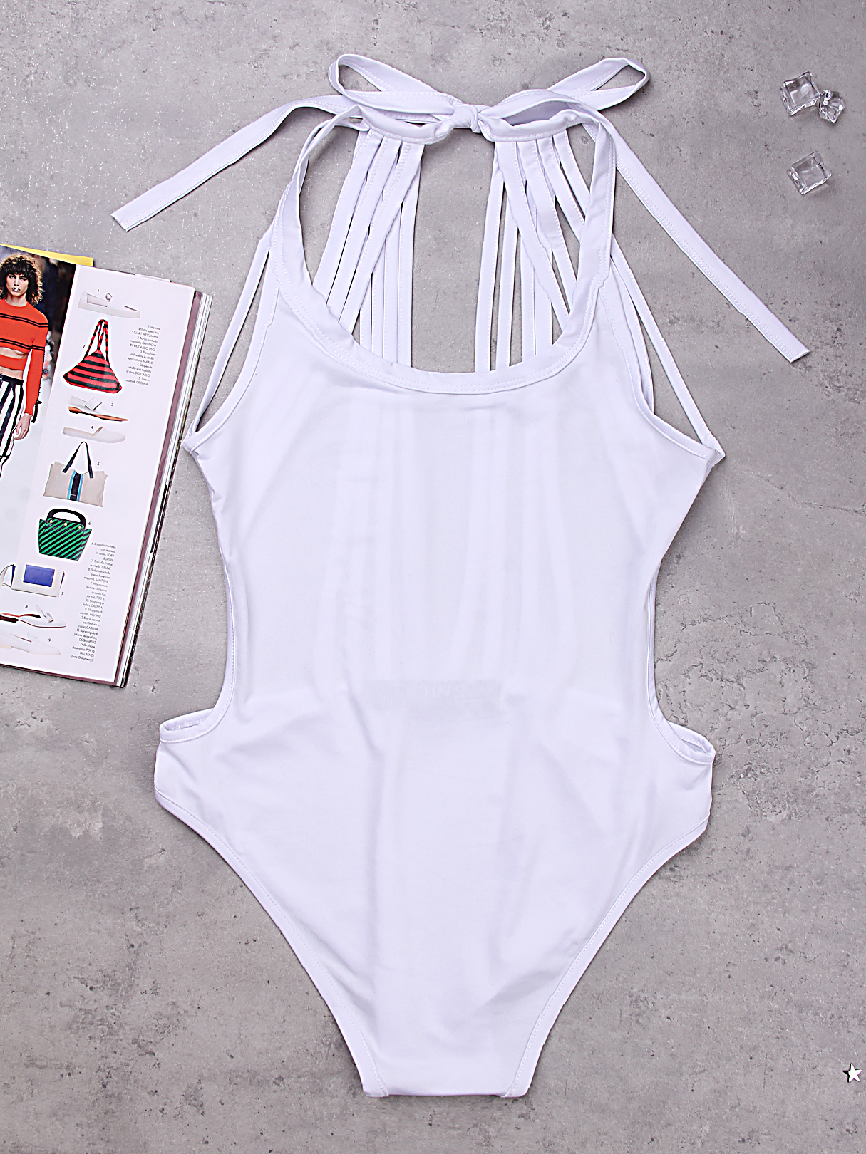White Sexy Halter Backless Self-tie Swimsuit