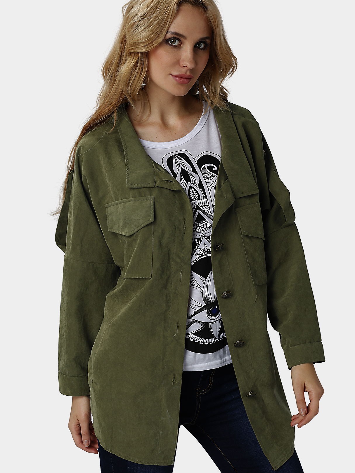 Army Green Loose Fit Trench Outerwear