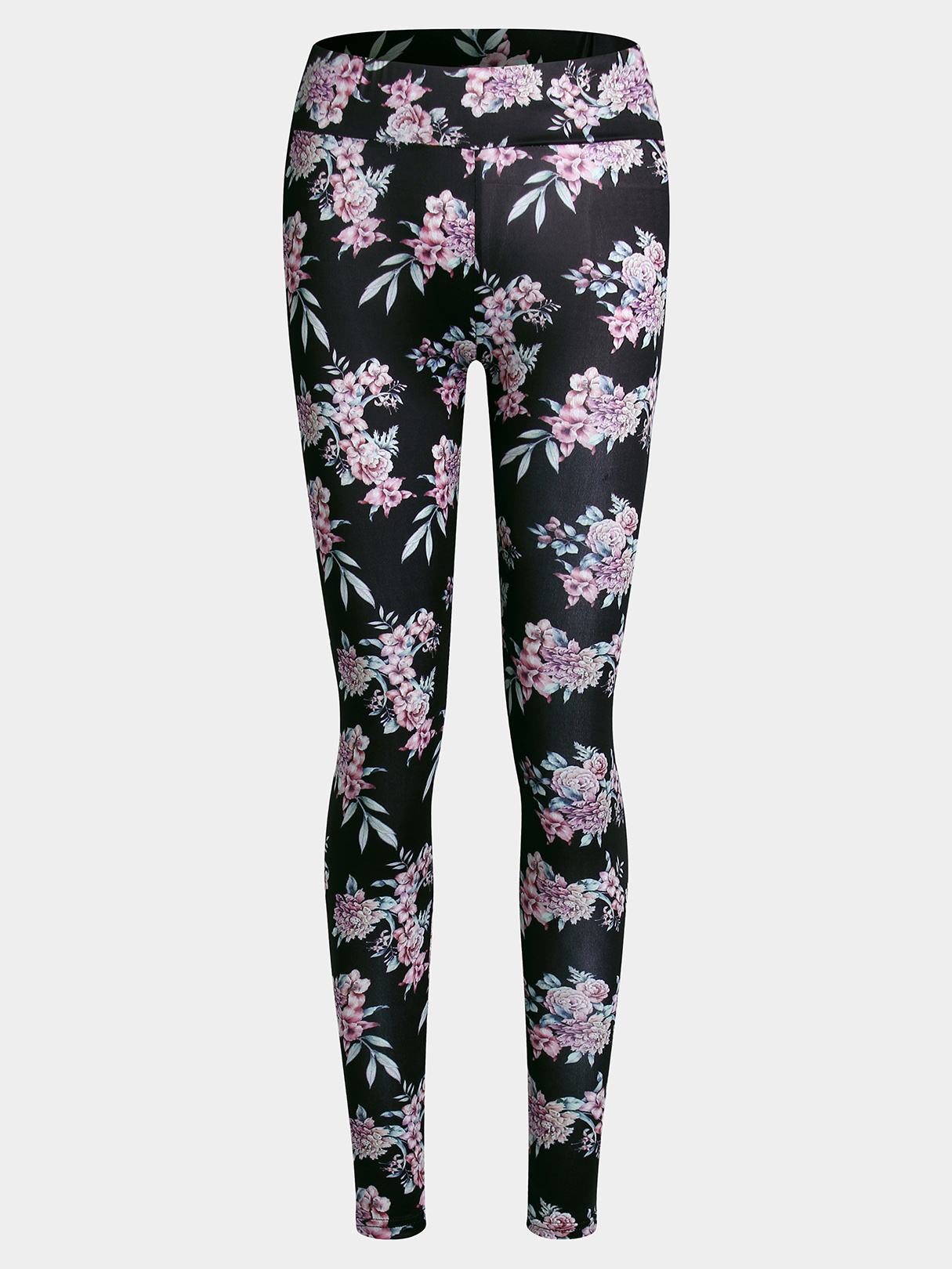 Active Random Floral Print Yoga Legging in Black