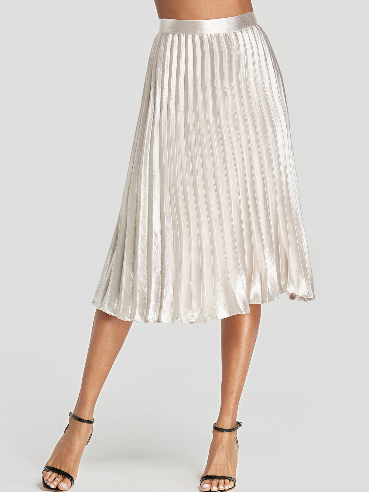 Silver Pleated Design Midi Skirt