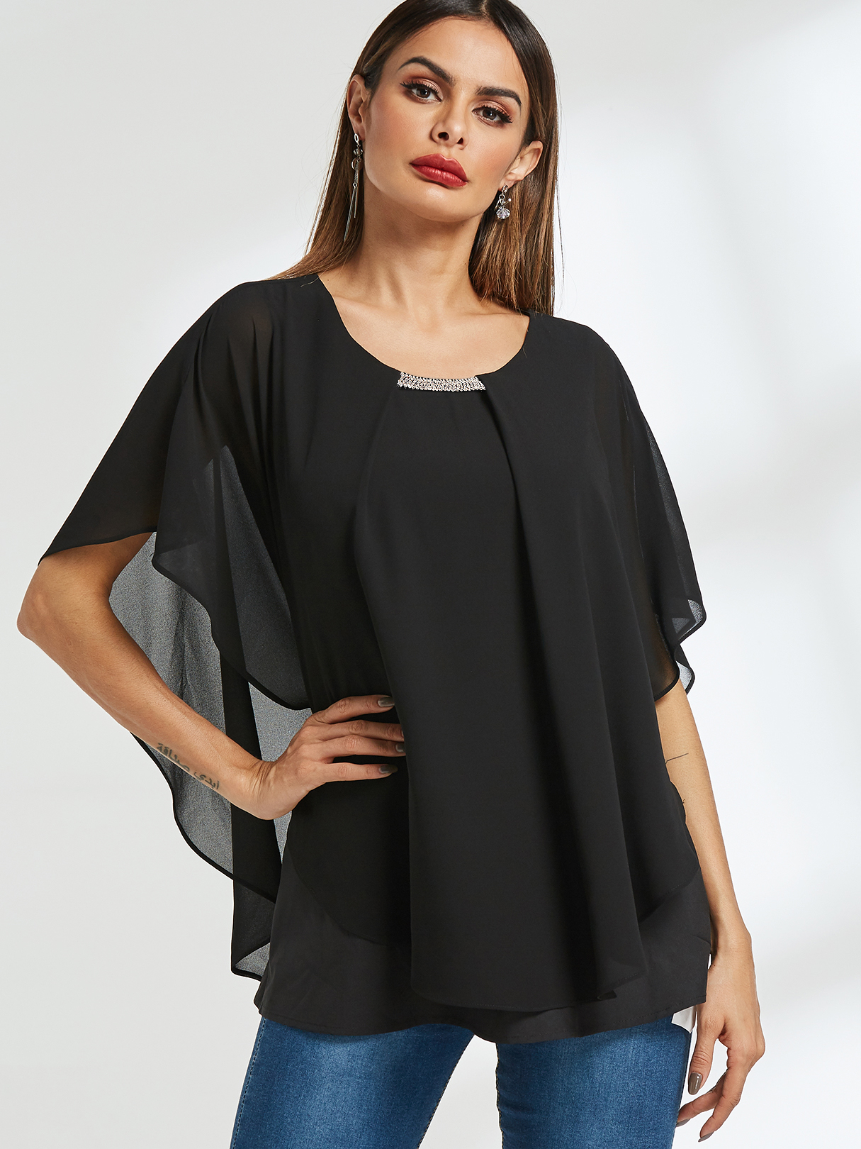 Black Tiered Design Dolman sleeve Chiffon Blouse