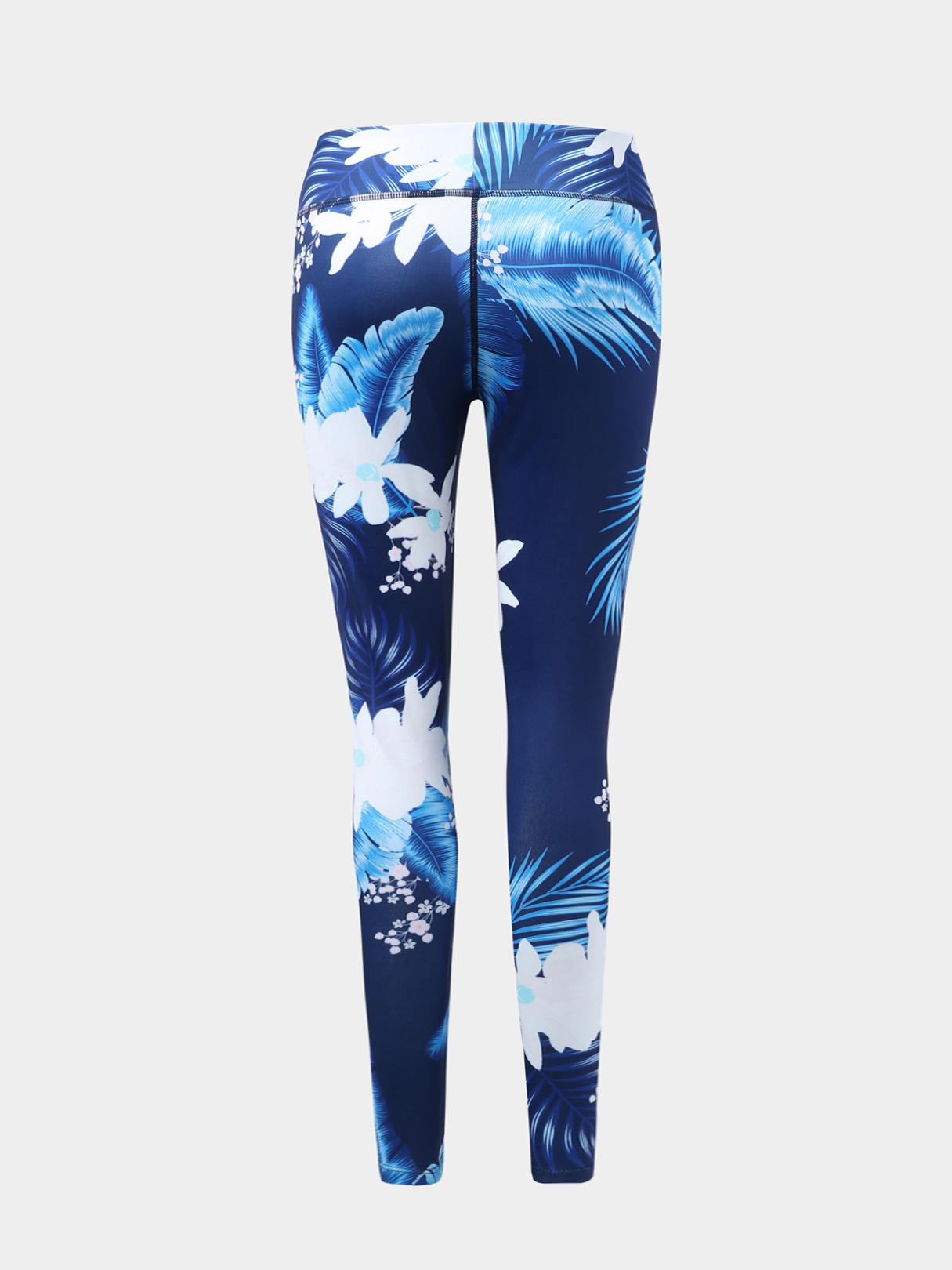 Blue Active Floral Print High Waisted Leggings