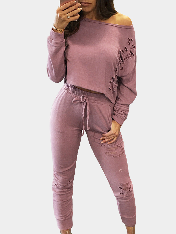 Pink Sexy Co-ords with Hollow Details