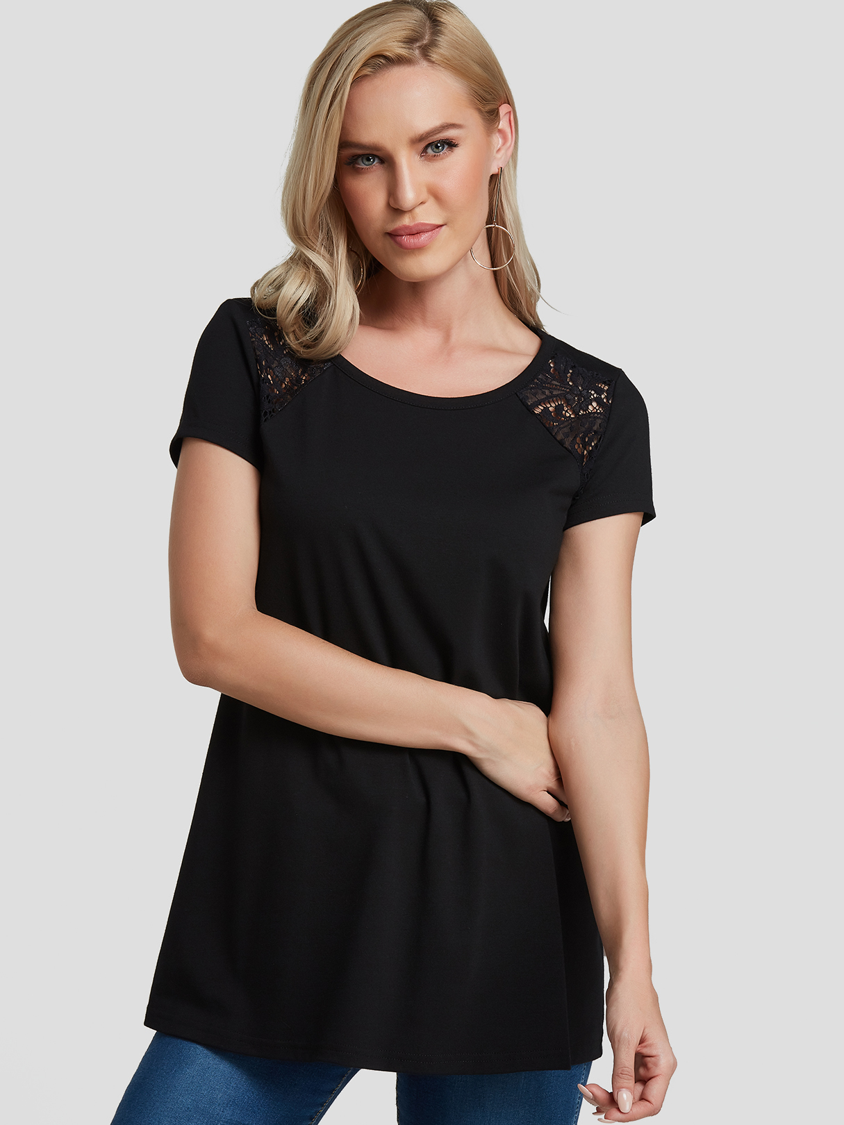 Black Lace Insert Round Neck Short Sleeves Tee