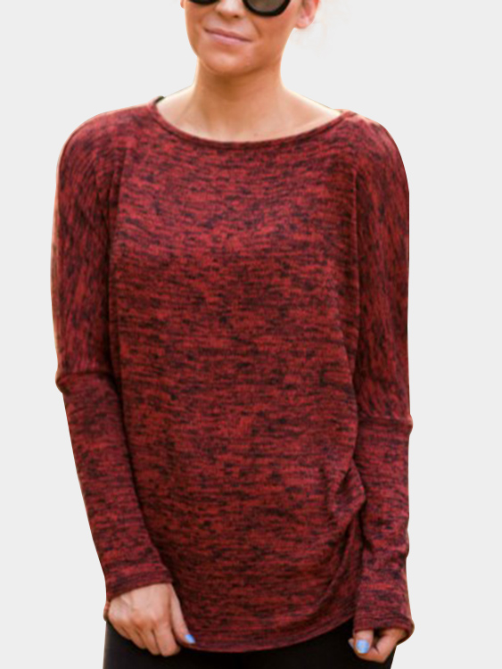 Burgundy Round Neck Long Sleeves Casual Tee