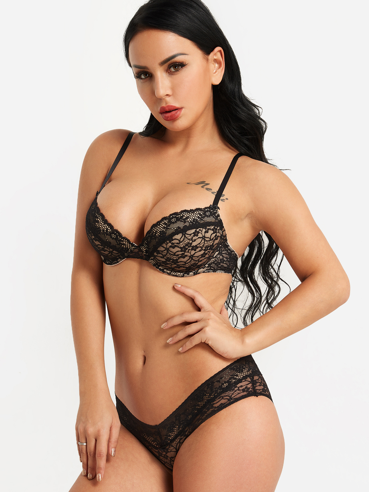 Black Push Up Embroidery Lace Bra & Panty Set